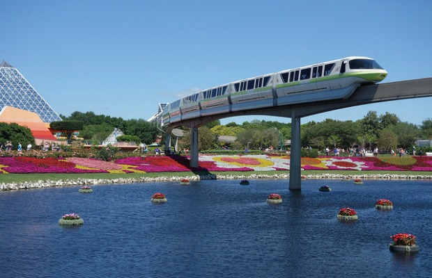 A view of the monorail at Epcot in Walt Disney World