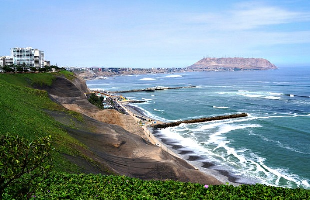 A view of the cliffs in Miraflores, Lima, Peru