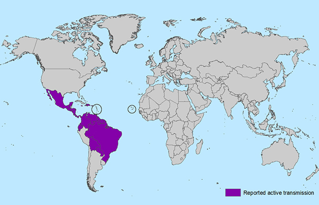 Zika virus map - CDC
