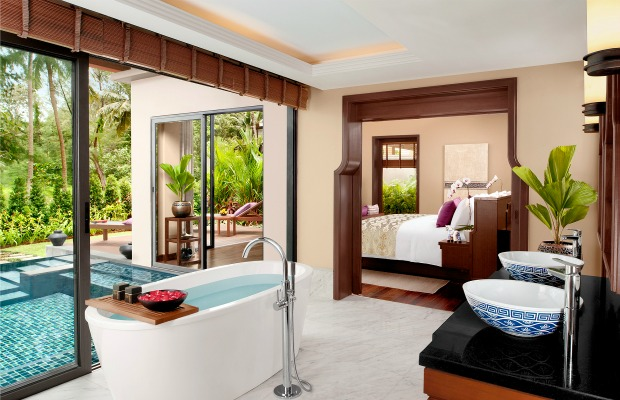 Bathroom in beachfront pool villa/Anantara Phuket Layan in Thailand