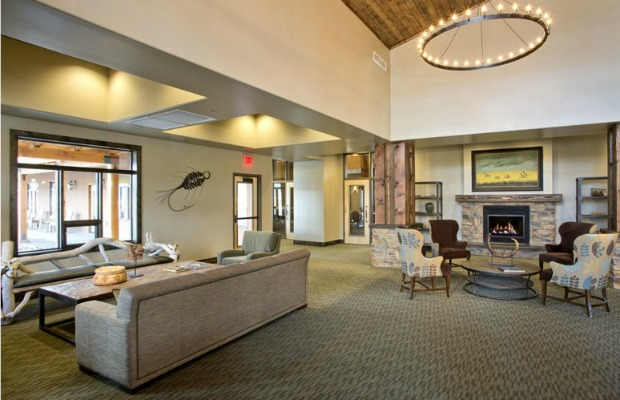 The clubhouse lobby of Angel Fire Resort in New Mexico
