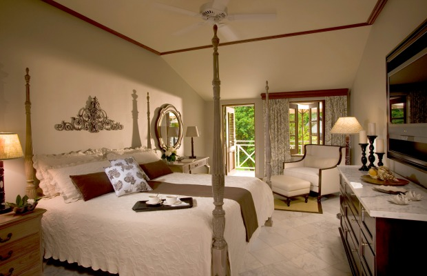 Guestroom at Sandals Halcyon Beach Resort & Spa in St. Lucia