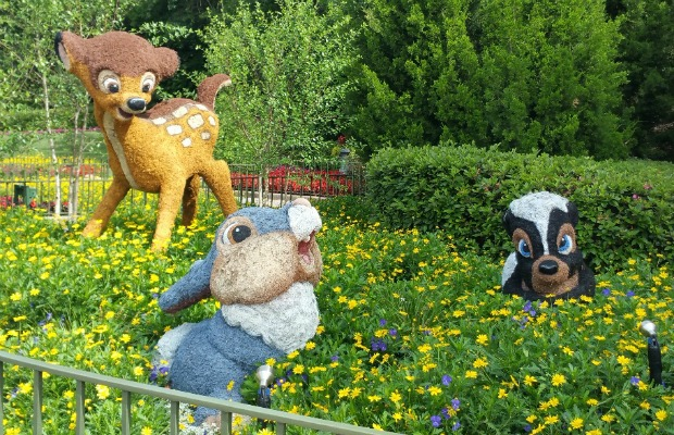 Bambi, Thumper and Flower topiaries at Epcot