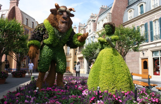 Belle and the Beast topiaries at Epcot
