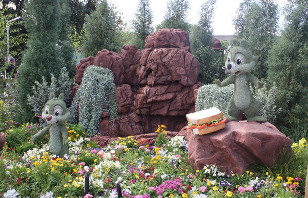 Chip and Dale topiaries at Epcot