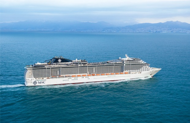 An aerial view of MSC Preziosa