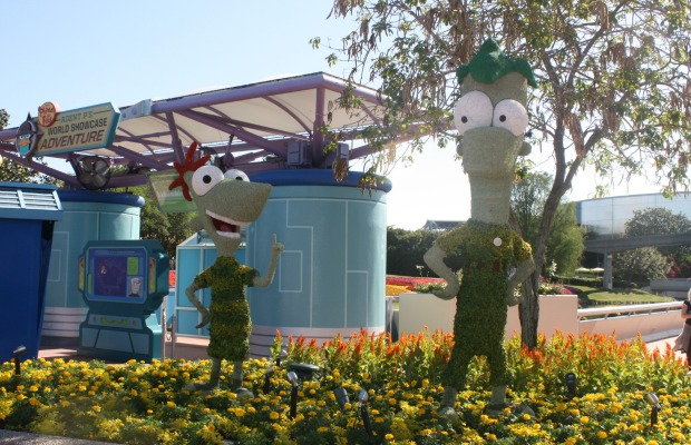 Phineas and Ferb topiaries at Epcot