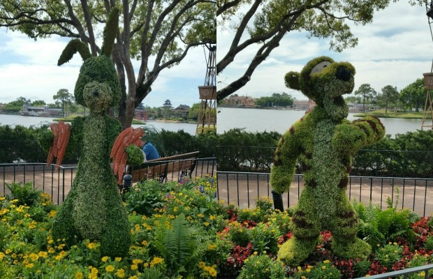 Rabbit and Tigger topiaries at Epcot