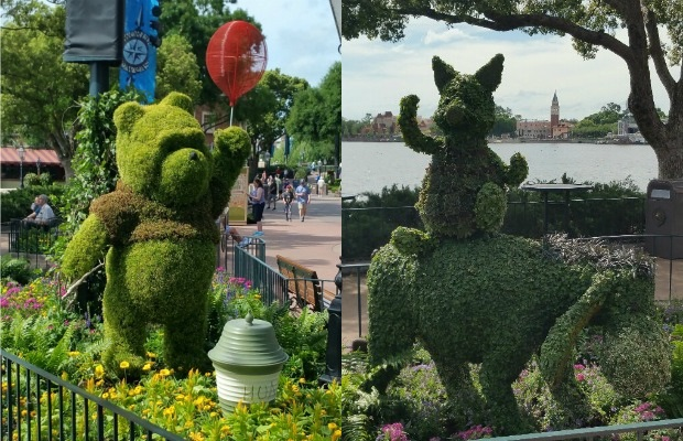 Winnie the Pooh, Piglet and Eeyore topiaries at Epcot