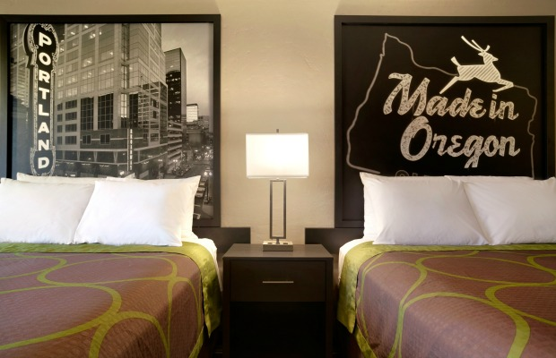 A newly designed double room at Super 8 in Portland, Oregon