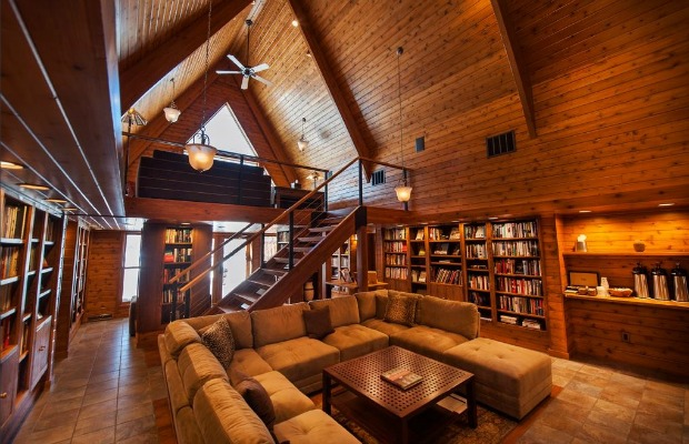 The library at Canoe Bay in Chetek, Wisconsin