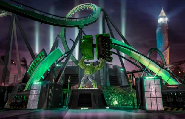 Rendering of redesigned Incredible Hulk Coaster at Universal Orlando Resort in Florida