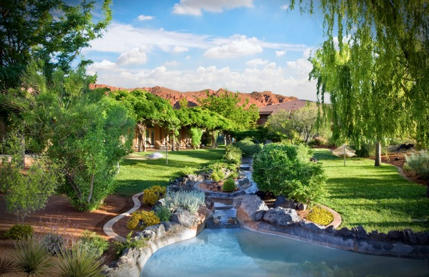 Fitness center water feature at Red Mountain Resort in Ivins, Utah