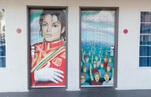 Guestroom doors at Dixie Hollywood Hotel in Los Angeles, California