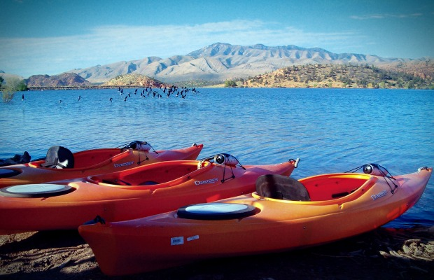Kayaks at Red Mountain Resort in Ivins, Utah