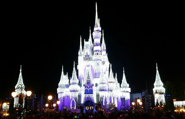 Cinderella Castle in holiday lights at the Magic Kingdom in Orlando, Florida