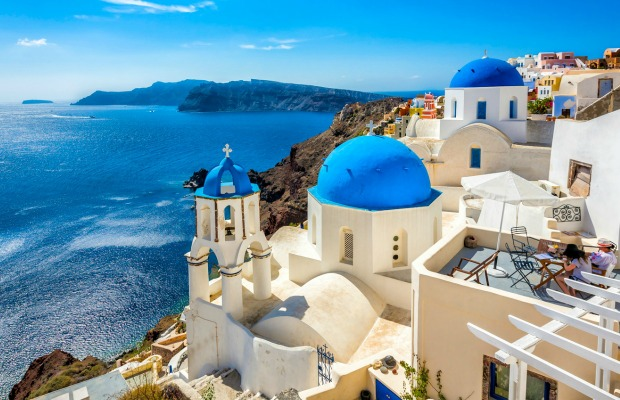 Santorini, Greece, blue and white churches